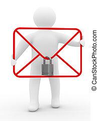 concept, e-mail, image, isolé, arrière-plan., blanc, 3d