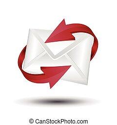 concept., e-mail, vecteur, arrows., courrier, rouges, circulaire