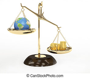 Concept - Earth and money on measurement scales