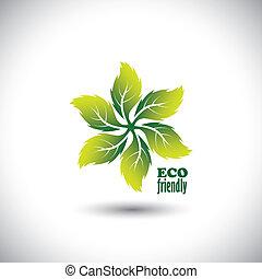 concept, eco, bladeren, -, vector, cirkel, vriendelijk, pictogram