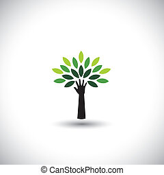 concept, &, eco, -, feuilles, arbre, main, vecteur, vert, humain, icône