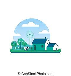concept, eco, milieu, boerderij, schoonmaken, vriendelijk