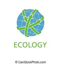 concept, eco, planeet, abstract, groene, pijl, logo, sparen, globe