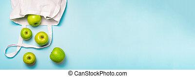 concept, eco, zéro, pommes, gaspillage, amical, sac, coton