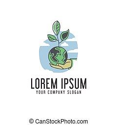 concept, ecologie, ontwerp, mal, aarde, sparen, logo.