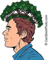 concept., ecologist., 考え, エコロジー, 公園, マレ, 森林