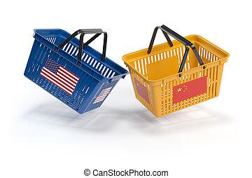 concept., econômico, guerra, eua, china, cestas, opor, comércio, shopping, flags., mercado, conflict., dois