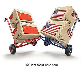concept., econômico, mão, guerra, caminhões, eua, china, opor, comércio, papelão, mercado, flags., conflito, caixas, dois