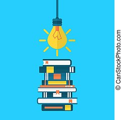 Concept education and learning, flat icons of heap textbooks and lightbulb