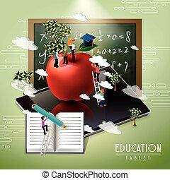 concept, education, tablette