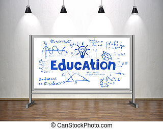 concept, education, whiteboard