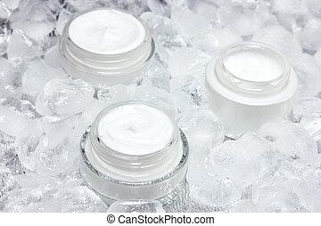 concept, effet, refroidissement, peau, crèmes, soin