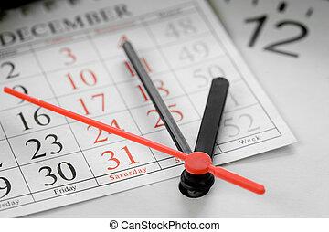 concept, einde, agenda, jaar