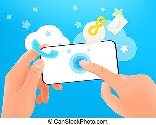 concept., ekran, używając, nowoczesny, wektor, smartphone, ...