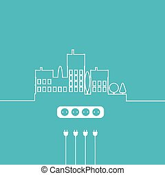 Concept electric circuit city. Vector flat design