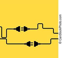 concept, electricity., scheiding, verbinding