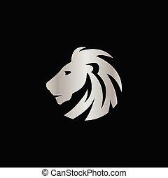 concept, elegant, leeuw, vector, ontwerp, kam, zilver