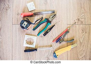 concept, elektrisch, gereedschap, vloer, doe het zelf