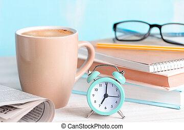 concept., elindít, kávécserje, reggel, nap, jó