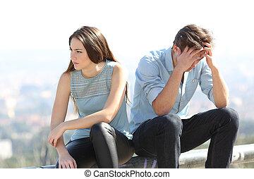concept, elle, discuter, dissolution, couple, mauvais, girl