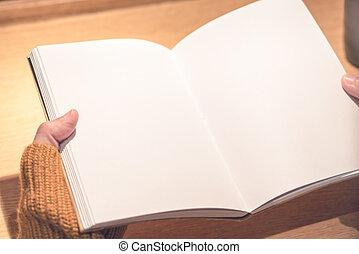 concept, elle, main, espace, livre, education, tenue, vide, copie, lecture, femmes