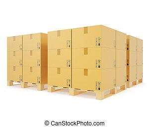 concept, empilé, bois, boîtes, pallets., entrepôt, carton