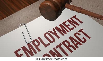 concept, emploi, contrat, légal