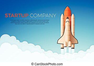 concept., empresa / negocio, o, launch., cohete, inicio, ...