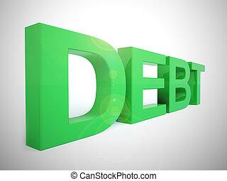 concept, -, emprunt, illustration, beaucoup, dette, obligation, icône, spectacles, 3d