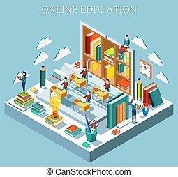 concept., en línea, plano, design., educación, vector,...