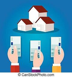 concept, enchère, enchère, argent, espèces, vente, possession main, maison, maison, propriété