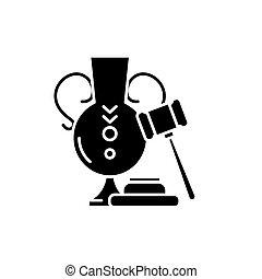 concept, enchère, isolé, illustration, signe, arrière-plan., vecteur, noir, icône, symbole