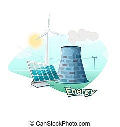 concept, energie, illustratie, bronnen, vector, ontwerp