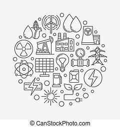 concept, energie, vector, illustratie