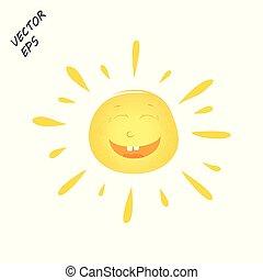concept, enfant, soleil, face., isolé, arrière-plan., vecteur, rire, dessin, été, rest.