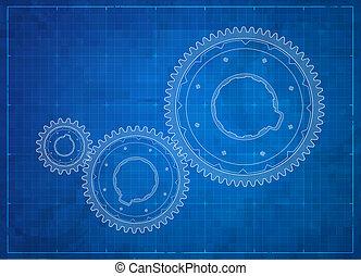 concept., engranajes, empresa / negocio, blueprint.