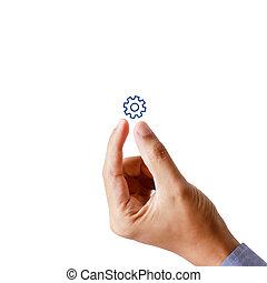 concept, engrenage, main, collaboration, homme affaires, présent