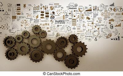 concept, engrenage, reussite, stratégie, business, dessiné, main, 3d