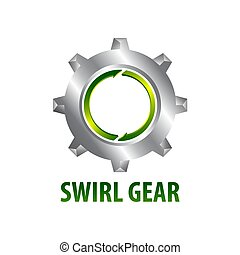 concept, engrenage, symbole, trois, élément, dimensionnel, graphisme, gabarit, tourbillon, logo, style.