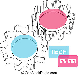 concept, engrenage, wireframe, plan, technologie, 3d
