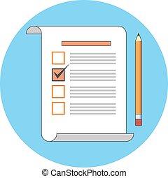 concept., enquête, vote, plat, design., revue