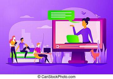 concept, enseignement, vecteur, illustration, ligne