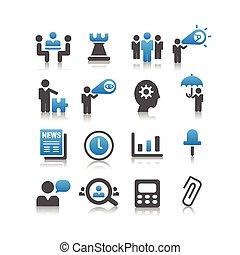 concept, ensemble, business, icône