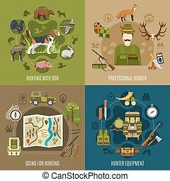 concept, ensemble, chasse, icônes