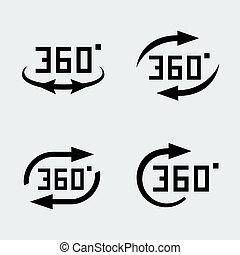 concept, ensemble, degré, icônes, '360, vecteur, rotation'