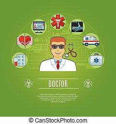 concept, ensemble, docteur, icônes