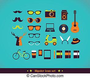 concept, ensemble, hipster, icône