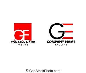 concept, ensemble, initiale, ge, vecteur, lettre, logo