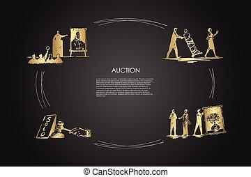 concept, ensemble, marteler, porter, enchère, galerie, dessin-modèles, vecteur, vente, -, enchère, art