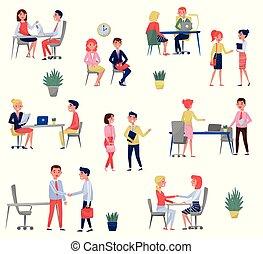 concept, ensemble, nouveau, hr, recrutement, métier, vecteur, fond, employé, entrevue, spécialistes, blanc, illustrations, avoir, demandeurs